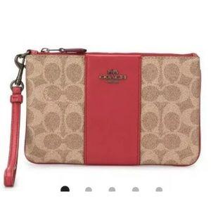 Coach Colorblocked wristlet wallet tan red apple